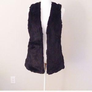 Jolt Black Faux Fur Shearling Waterfall Vest SizeS